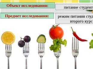 питание студентов Объект исследования: Предмет исследования: режим питания ст