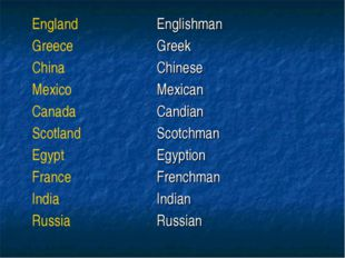 EnglandEnglishman GreeceGreek ChinaChinese MexicoMexican CanadaCandian S
