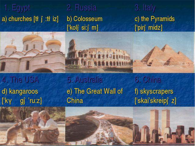 1. Egypt2. Russia3. Italy a) churches [t∫ə:t∫iz]b) Colosseum ['koləsi:əm]...