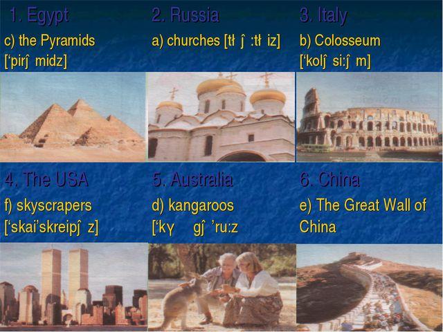 1. Egypt2. Russia3. Italy c) the Pyramids ['pirəmidz] a) churches [t∫ə:t∫...