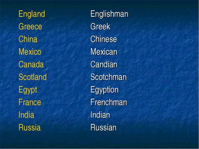 EnglandEnglishman GreeceGreek ChinaChinese MexicoMexican CanadaCandian S...