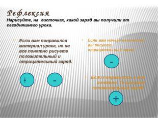 Рефлексия Нарисуйте, на листочках, какой заряд вы получили от сегодняшнего ур