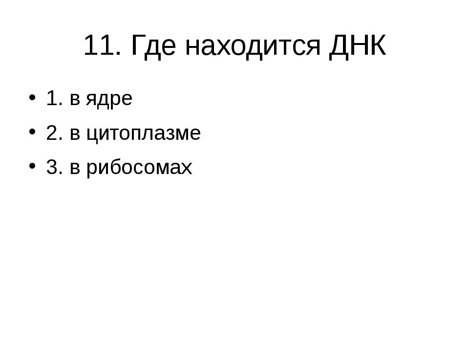 11. Где находится ДНК 1. в ядре 2. в цитоплазме 3. в рибосомах