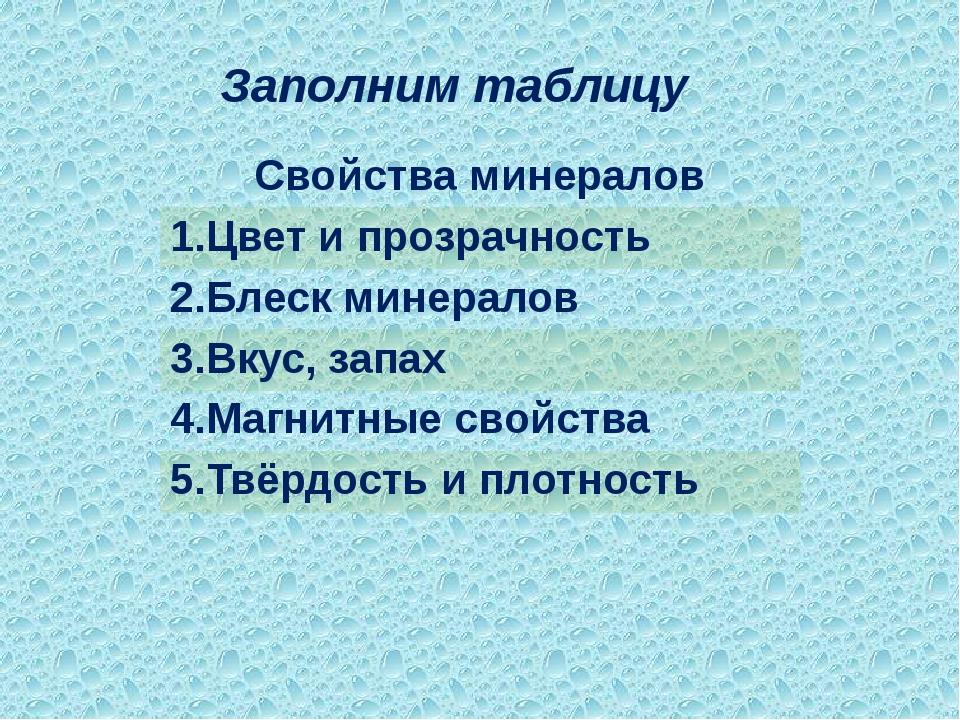Заполним таблицу Свойства минералов 1.Цвет и прозрачность 2.Блескминералов 3....