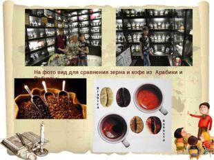 На фото вид для сравнения зерна и кофе из Арабики и Робусты