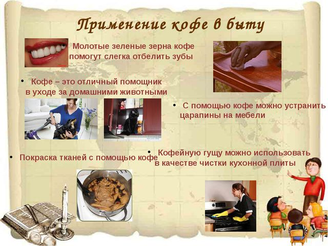 Применение кофе в быту Молотые зеленые зерна кофе помогут слегка отбелить зу...