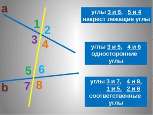 а b 1 2 3 8 7 6 5 4 3 6 4 5 углы 3 и 6, 5 и 4 накрест лежащие углы углы 3 и 5