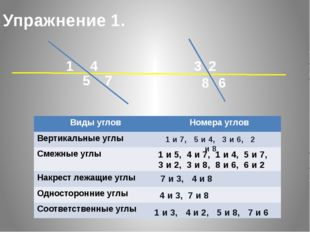Упражнение 1. 1 5 7 4 6 8 3 2 1 и 7, 5 и 4, 3 и 6, 2 и 8 1 и 5, 4 и 7, 1 и 4,