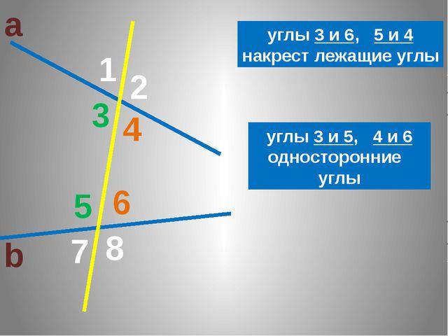 а b 1 2 3 8 7 6 5 4 3 6 4 5 углы 3 и 6, 5 и 4 накрест лежащие углы углы 3 и 5...