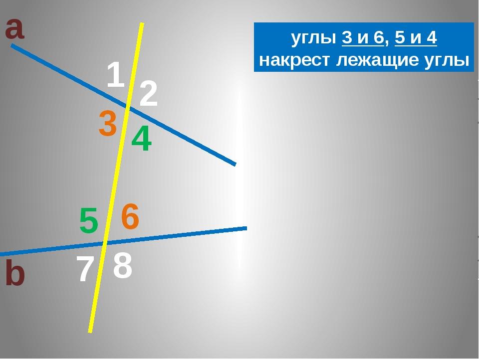 а b 1 2 3 8 7 6 5 4 3 6 4 5 углы 3 и 6, 5 и 4 накрест лежащие углы