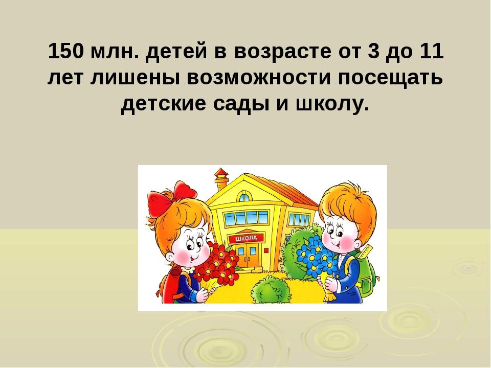 150 млн. детей в возрасте от 3 до 11 лет лишены возможности посещать детские...