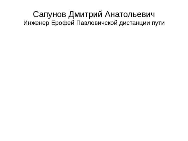 Сапунов Дмитрий Анатольевич Инженер Ерофей Павловичской дистанции пути