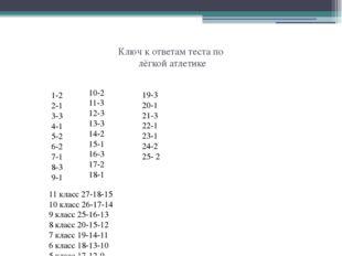 Ключ к ответам теста по лёгкой атлетике 11 класс 27-18-15 10 класс 26-17-14 9