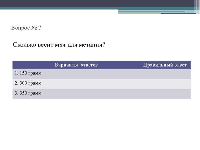 Вопрос № 7 Сколько весит мяч для метания? Варианты ответов Правильный ответ...