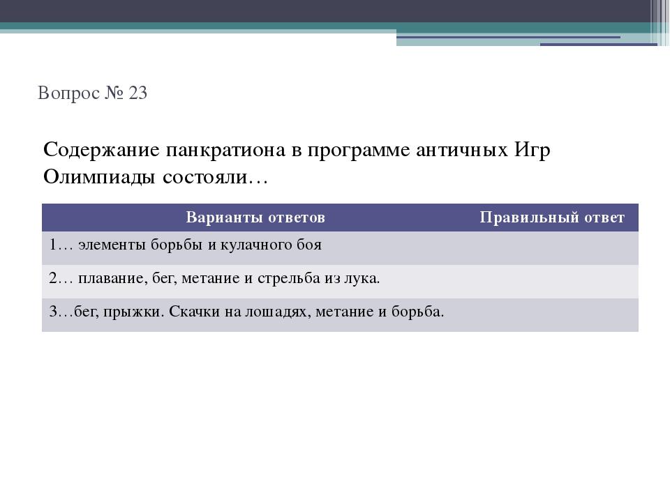 Вопрос № 23 Содержание панкратиона в программе античных Игр Олимпиады состоя...