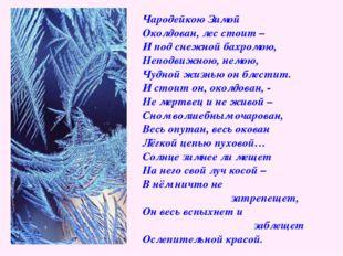 Чародейкою Зимой Околдован, лес стоит – И под снежной бахромою, Неподвижною,