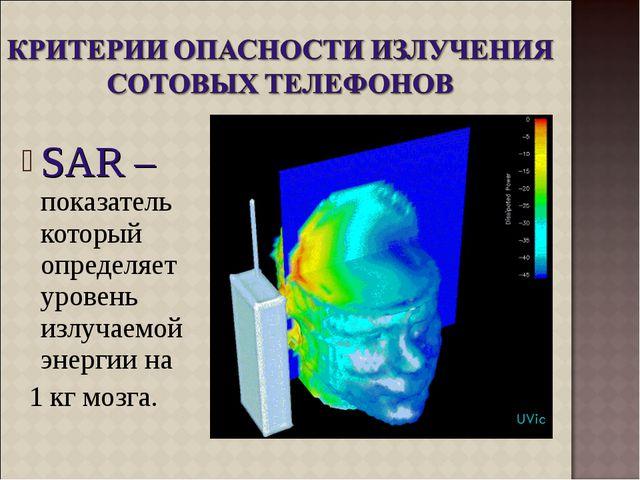 SAR – показатель который определяет уровень излучаемой энергии на 1 кг мозга.