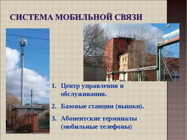 Центр управления и обслуживания. Базовые станции (вышки). Абонентские термина...