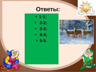 Ответы: 1-1; 2-2; 3-3; 4-4; 5-5. FokinaLida.75@mail.ru