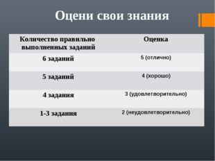 Оцени свои знания Количество правильно выполненных заданийОценка 6 заданий5