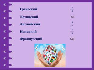 1 3 3 7 5 8 Греческий Латинский 0,3 Английский Немецкий Французский 0,25 © Фо