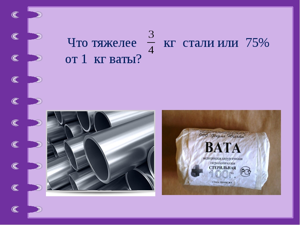 Что тяжелее кг стали или 75% от 1 кг ваты? © Фокина Лидия Петровна