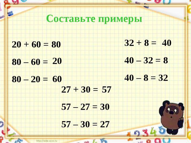 Составьте примеры 20 + 60 = 80 80 – 60 = 80 – 20 = 27 + 30 = 57 – 27 = 30 57...