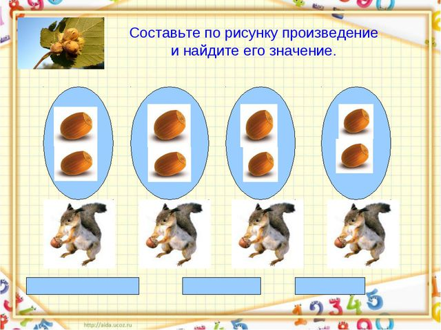2+ 2 +2 +2=8 2 * 4 = 8 8 : 4 = 2 Составьте по рисунку произведение и найдите...