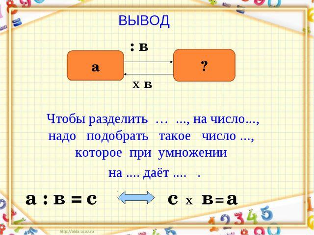ВЫВОД а ? : в х в а : в = с х = с в а Чтобы разделить … ..., на число..., над...
