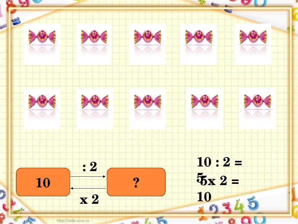 10 ? : 2 х 2 10 : 2 = 5 5х 2 = 10