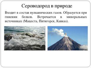 Сероводород в природе Входит в состав вулканических газов. Образуется при гни