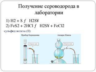 cульфид железа (II) Получение сероводорода в лаборатории 1) H2+ S→ H2S↑ 2)