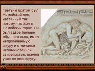 Третьим братом был Немейский лев, названный так потому, что жил в Немейских г