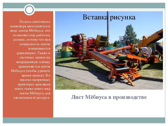 Лист Мёбиуса в производстве Полосаленточного конвейеравыполняется в виде ле...