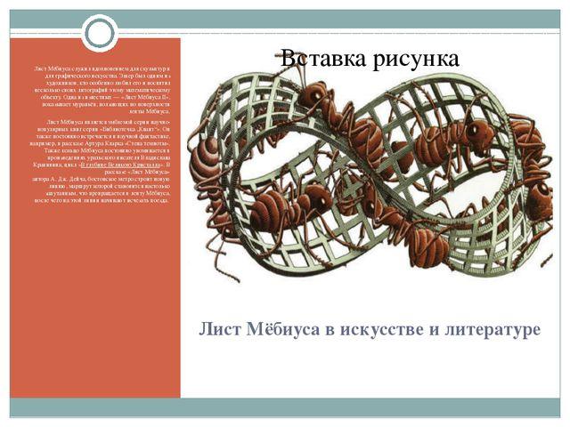 Лист Мёбиуса в искусстве и литературе Лист Мёбиуса служил вдохновением для ск...