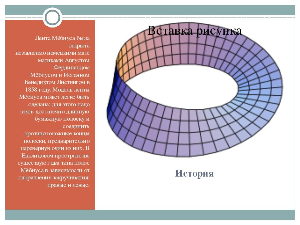 История Лента Мёбиуса была открыта независимонемецкимиматематикамиАвгустом...