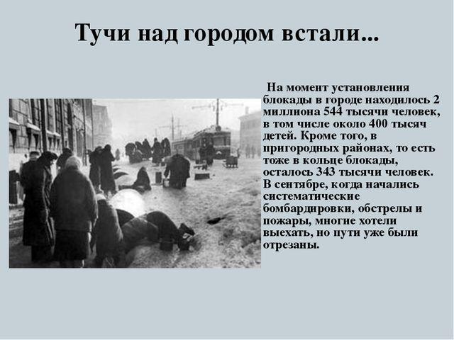 Тучи над городом встали... На момент установления блокады в городе находилось...
