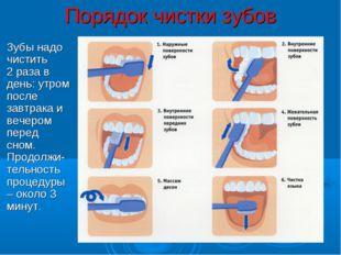 Порядок чистки зубов Зубы надо чистить 2 раза в день: утром после завтрака и