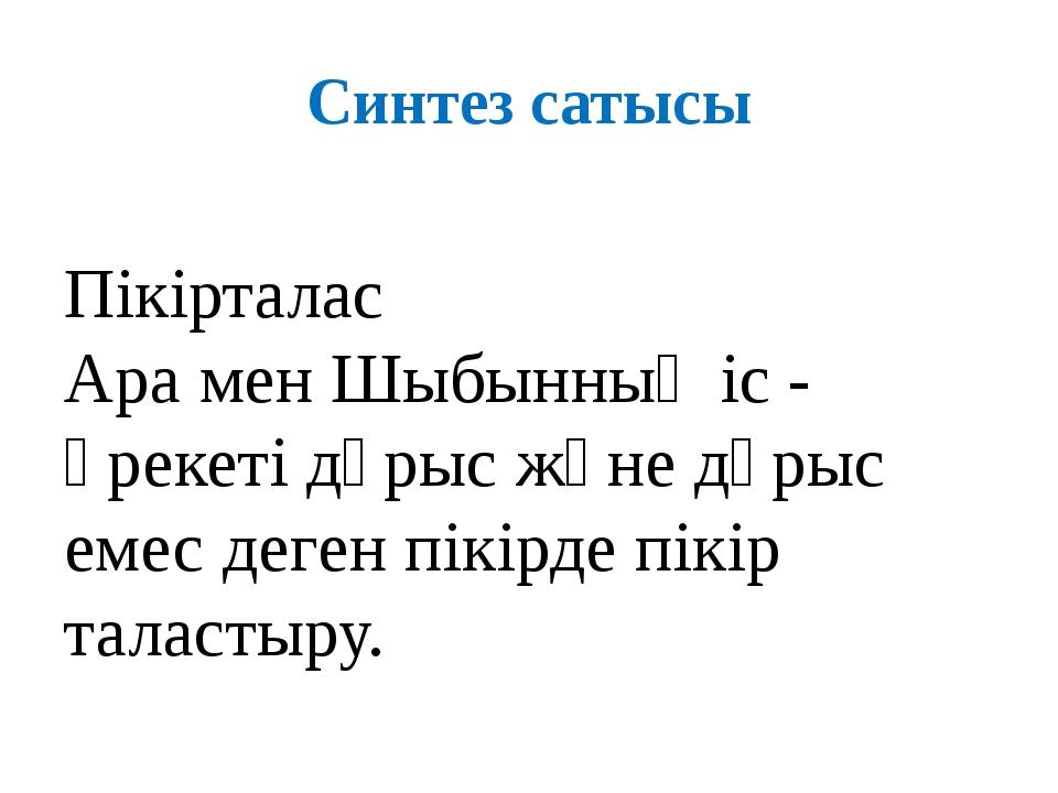 Синтез сатысы Пікірталас Ара мен Шыбынның іс - әрекеті дұрыс және дұрыс емес...