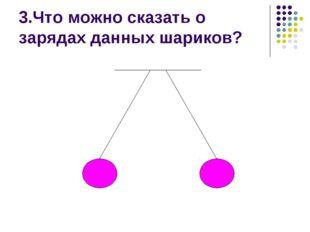 3.Что можно сказать о зарядах данных шариков?