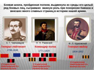 А. Г. Чавчавадзе Боевая школа, пройденная полком, выдвинула из среды его целы