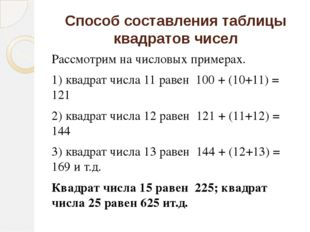 Способ составления таблицы квадратов чисел Рассмотрим на числовых примерах. 1