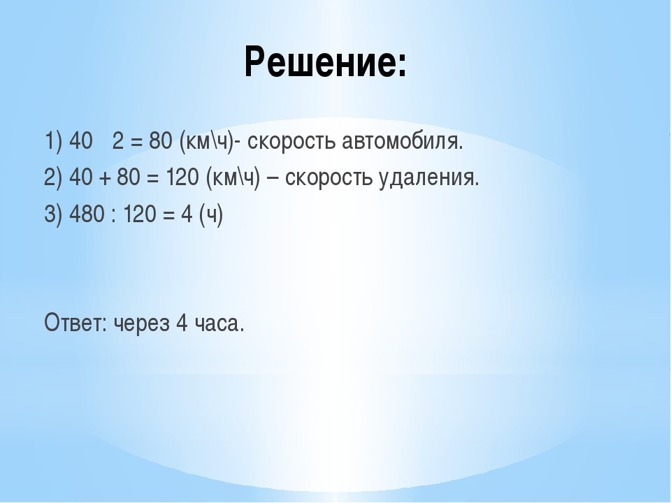 Решение: 1) 40 · 2 = 80 (км\ч)- скорость автомобиля. 2) 40 + 80 = 120 (км\ч)...