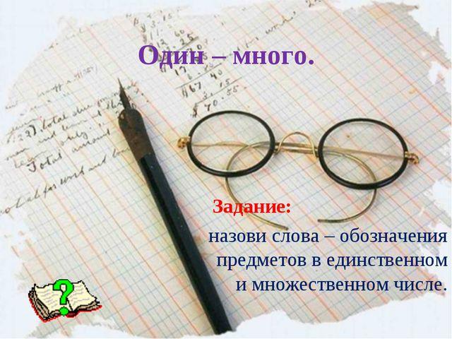 Один – много. Задание: назови слова – обозначения предметов в единственном и...