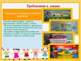 Требования к зонам: Социально-коммуникативное развитие -Наличие фотографий, с