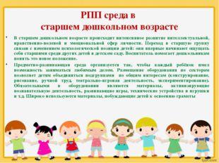 РПП среда в старшем дошкольном возрасте В старшем дошкольном возрасте происхо