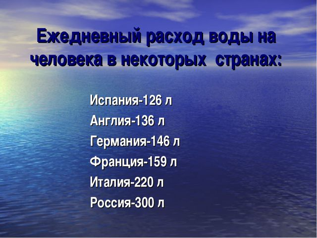 Ежедневный расход воды на человека в некоторых странах: Испания-126 л Англия-...