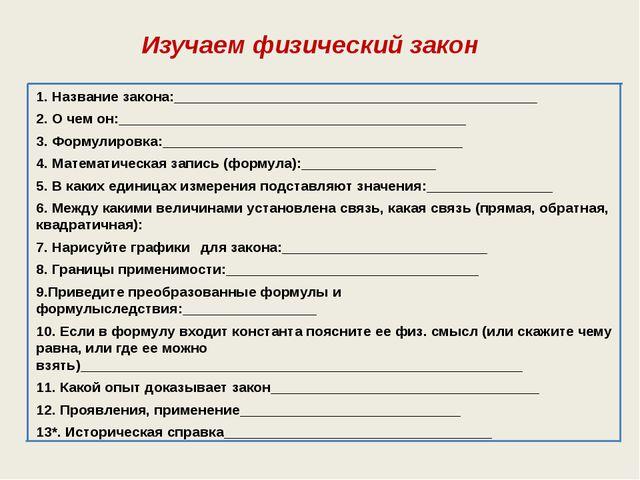 Изучаем физический закон 1. Название закона:_________________________________...