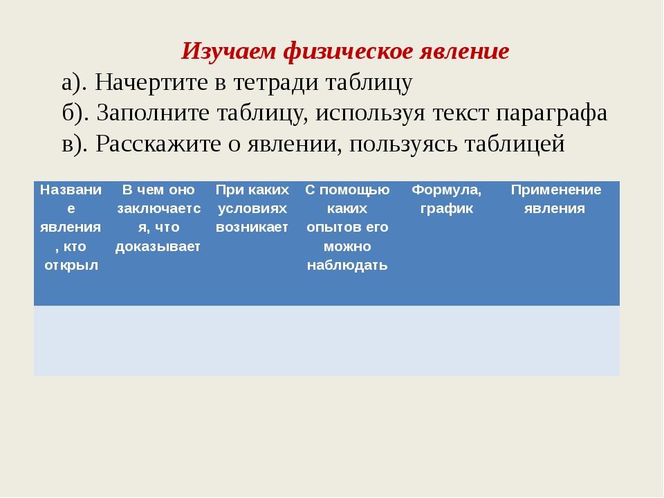 Изучаем физическое явление а). Начертите в тетради таблицу б). Заполните табл...