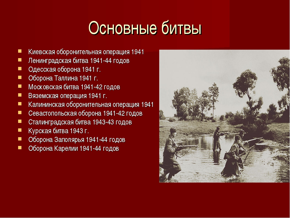 Основные битвы Киевская оборонительная операция 1941 Ленинградская битва 1941...